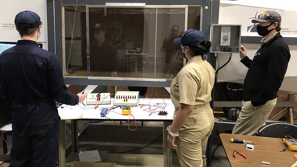 Cadets working on wind tunnel