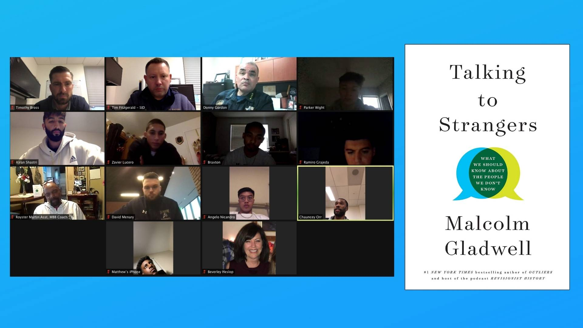 Mens Basketball on Zoom meeting with Talking to Strangers book cover