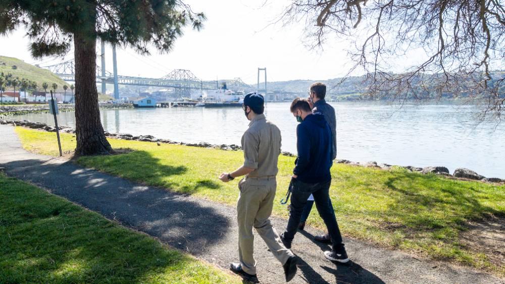 Cadets walking at waterfront