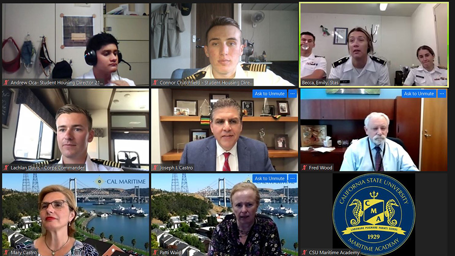 Chancellor Castro with student leadership on zoom