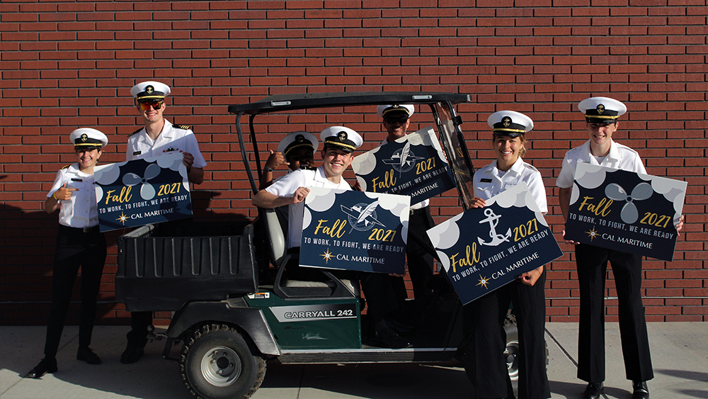 Cadets in golf cart