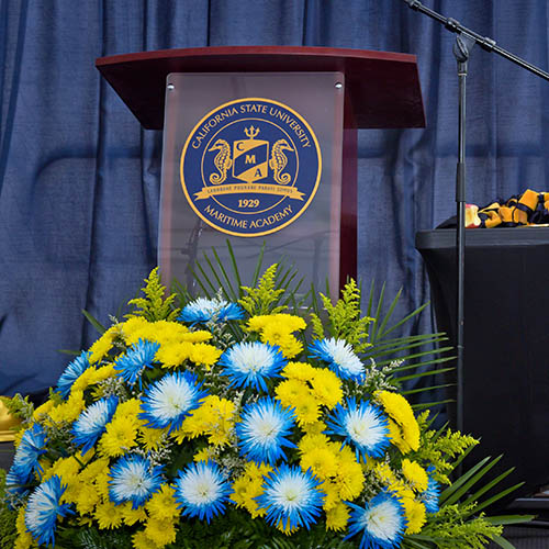 Podium with flowers in front