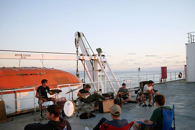 Music on the helo deck